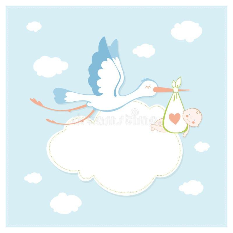 behandla som ett barn storken lycklig f?delsedag ocks? vektor f?r coreldrawillustration royaltyfri foto
