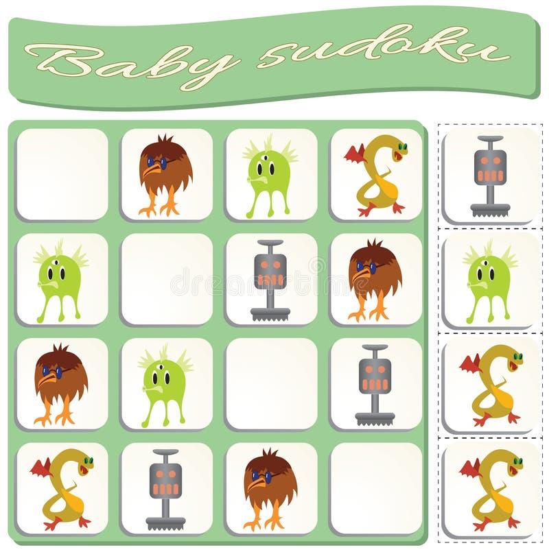 Behandla som ett barn Sudoku med f?rgrika billiardbollar royaltyfri illustrationer