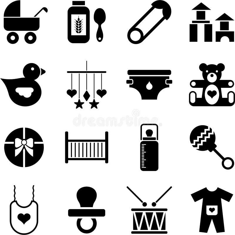 Behandla som ett barn symboler stock illustrationer