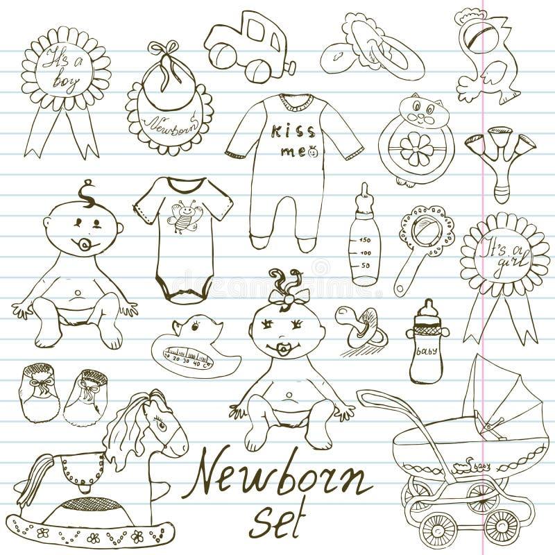 Behandla som ett barn symboler, leksaker, kläder, och vaggan, den drog handen skissar vektorillustrationen stock illustrationer