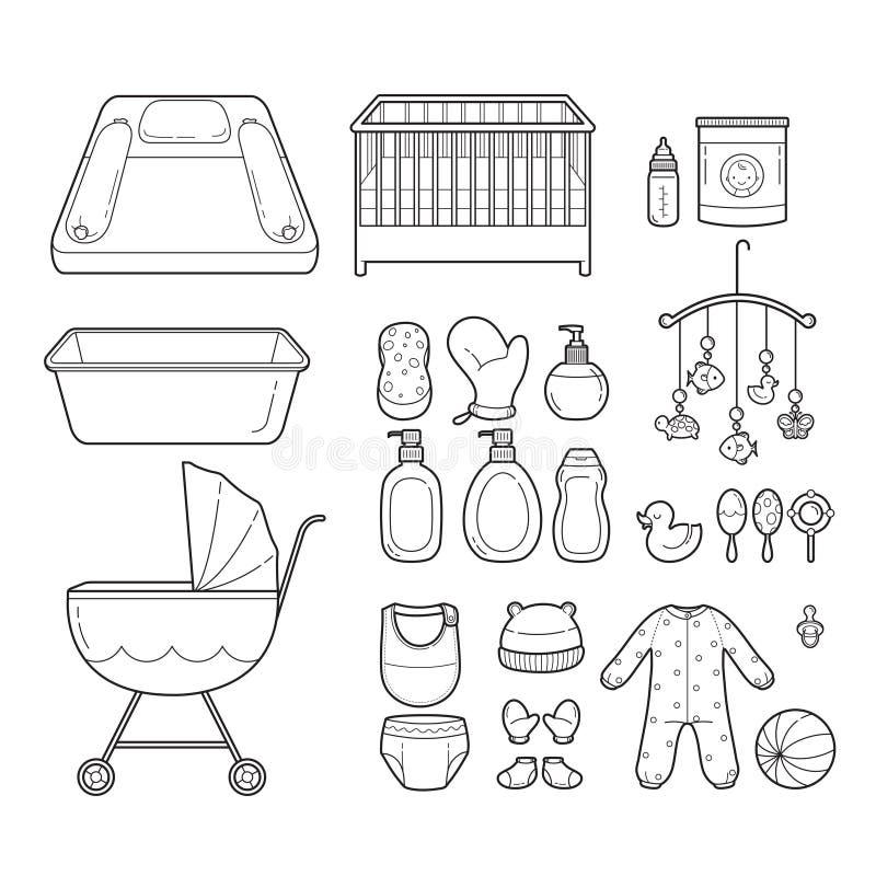 Behandla som ett barn symboler ställer in, skisserar symboler royaltyfri illustrationer