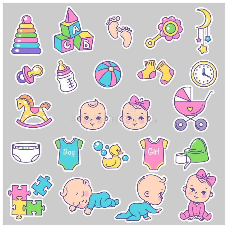 Behandla som ett barn symbolsseten Litet behandla som ett barn och isolerade objekt royaltyfri illustrationer