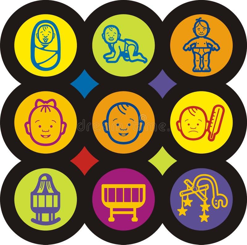 behandla som ett barn symbolsungeserien royaltyfri illustrationer