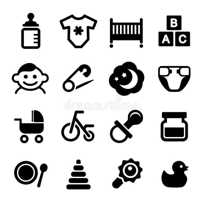 Behandla som ett barn symbolsuppsättningen royaltyfri illustrationer