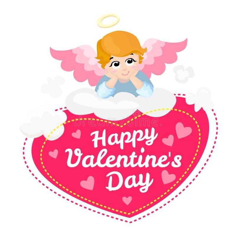 Behandla som ett barn teckenet för ängelvektortecknade filmen lyckliga valentiner för dag vingar på ett moln greeting lyckligt ny stock illustrationer