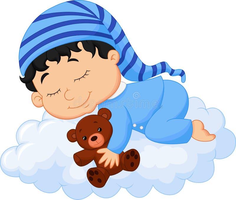 Behandla som ett barn tecknade filmen som sover molnet royaltyfri illustrationer