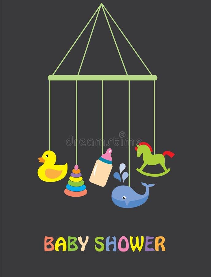 behandla som ett barn text för duschen för bakgrundskaninkortet gullig blom- royaltyfri illustrationer
