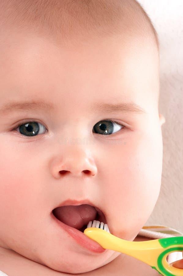 behandla som ett barn toothbrooshing4 arkivbild