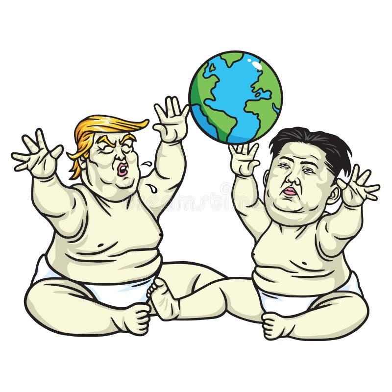 Behandla som ett barn trumf- och Kim Jong-FN som spelar jordklotet tecknad filmcommandertryckspruta hans illustrationsoldatstopwa