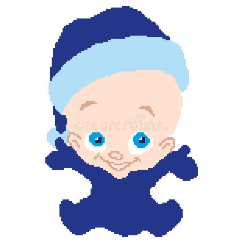 Behandla som ett barn ungen i jultomten den blåa dräkten för nya år som dras av fyrkanter, PIXEL greeting lyckligt nytt år för 20 vektor illustrationer
