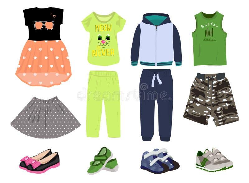 Behandla som ett barn uppsättningen för kläderfärgsymbolen, ungar bär symboler samlingen, vektor skissar, logoillustrationer som  stock illustrationer