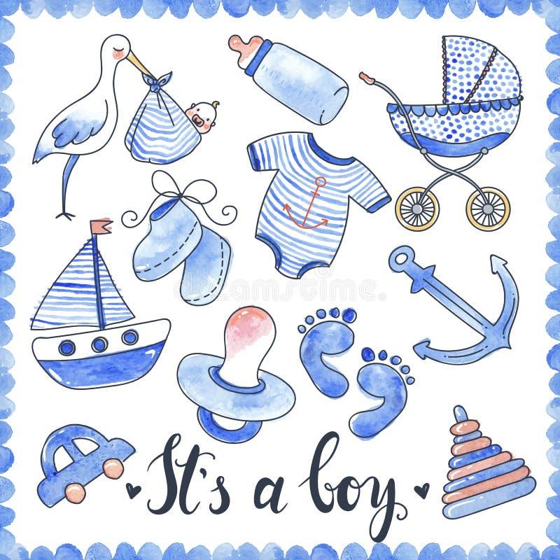 Behandla som ett barn uppsättningen för pojkevattenfärgbeståndsdelar royaltyfri illustrationer