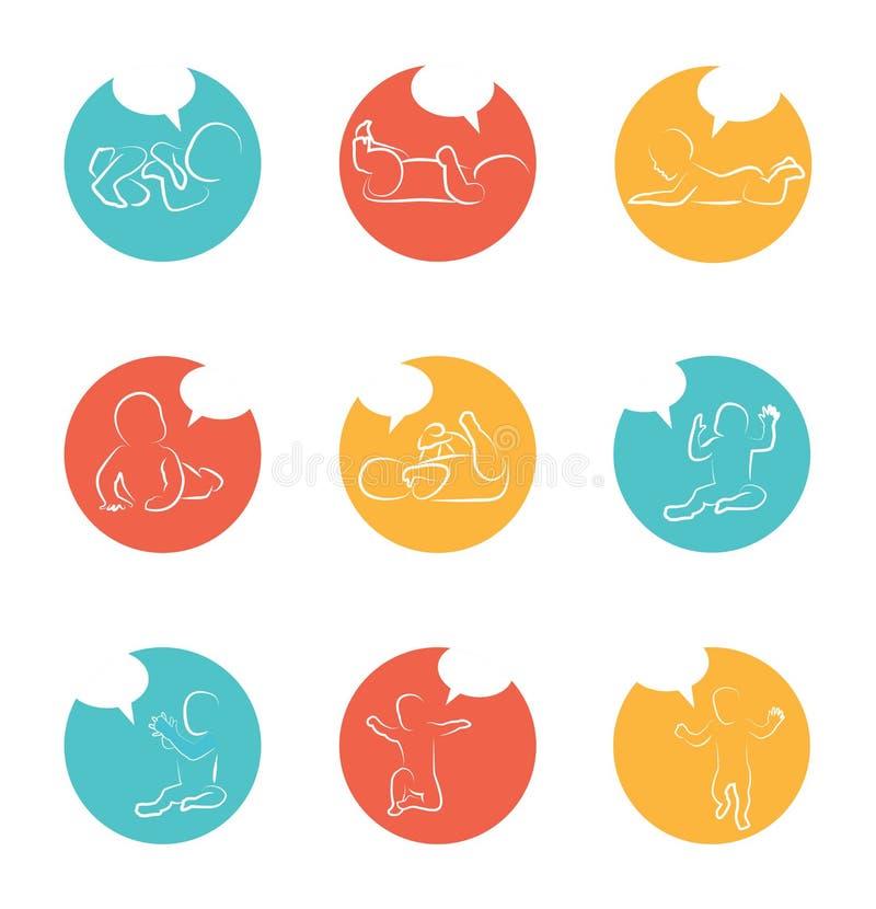 Behandla som ett barn utvecklingssymbolen, barntillväxtetapper litet barnmilstolpar av det första året royaltyfri illustrationer
