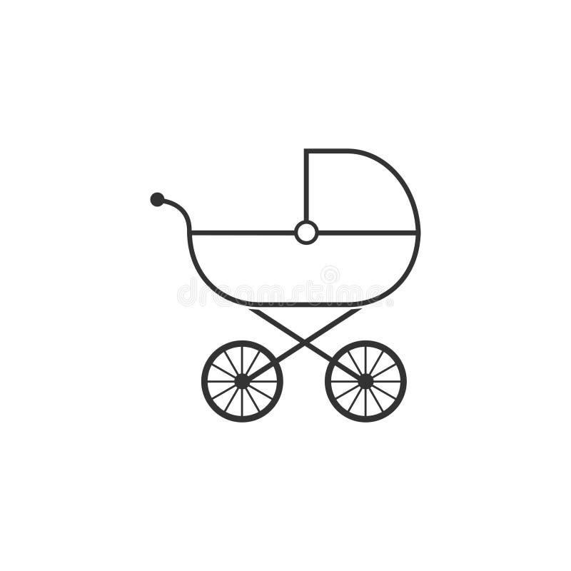 Behandla som ett barn vagnen, barnvagnen, pramen, sittvagnen, hjulsymbol Vektorillustration, l?genhetdesign royaltyfri illustrationer
