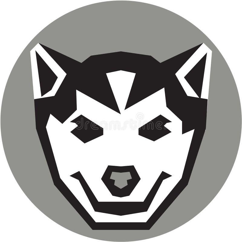 Behandla som ett barn Wolf Cub Head Circle Retro vektor illustrationer