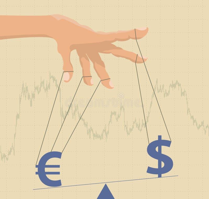 Behandlande valutavalutakurser royaltyfri illustrationer