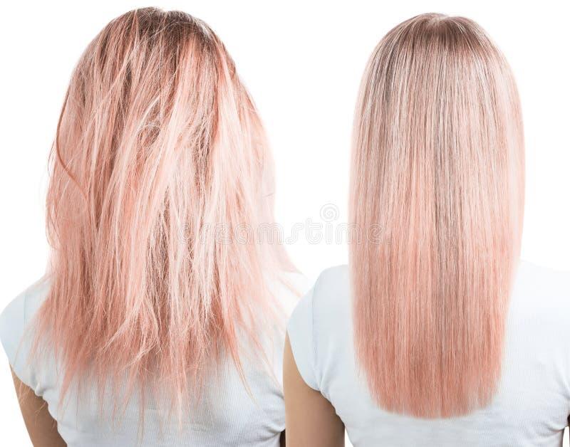 Behandling för blont hår före och efter royaltyfria bilder