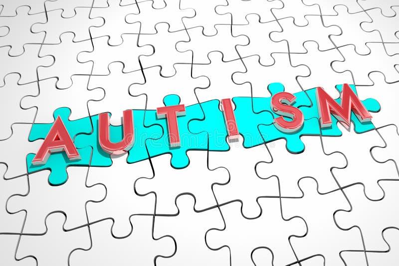 Behandling för bot för fynd för villkor för autismpusselstycken autistisk 3d I vektor illustrationer