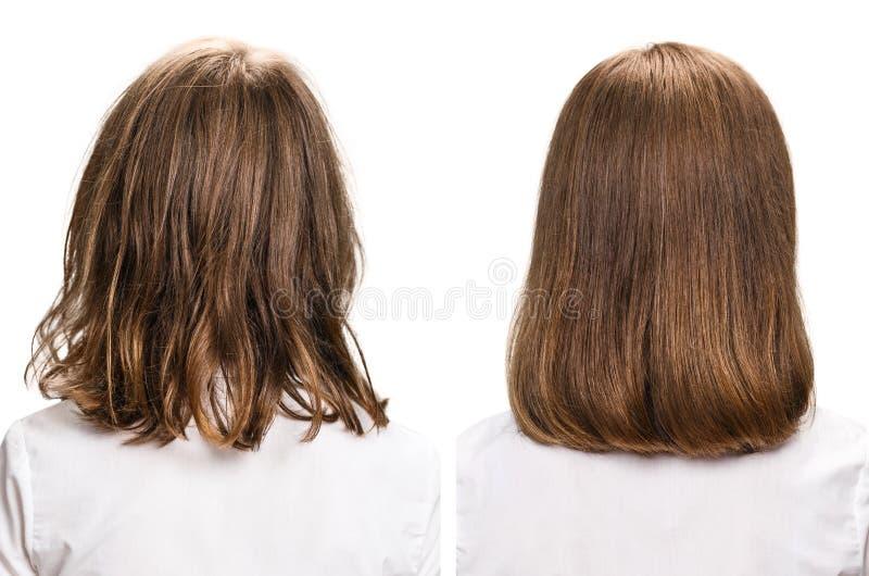 Behandling för hår före och efter royaltyfri foto