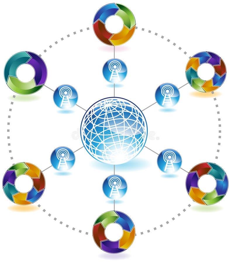 behandling för nätverk för diagram för pilar 3d vektor illustrationer