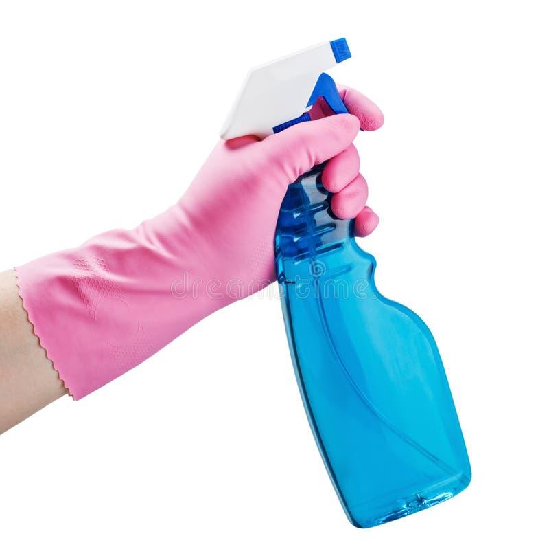 Download Behandschuhte Hand, Die Eine Sprayflasche Anhält Stockfoto - Bild von fußboden, hygiene: 27728470