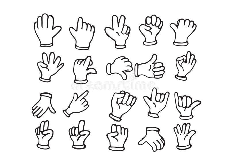 Behandskad tecknad filmhand, illustration av olika händer stock illustrationer