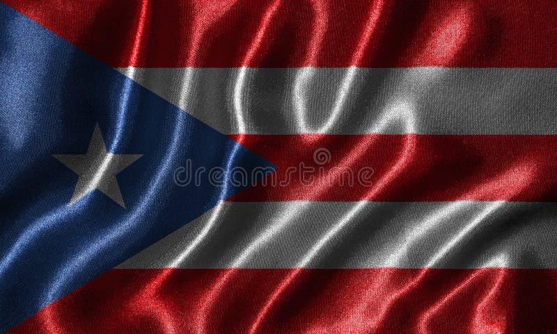 Behang door de vlag van Puerto Rico en golvende vlag door stof royalty-vrije stock afbeelding