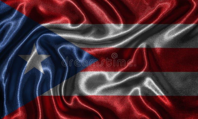 Behang door de vlag van Puerto Rico en golvende vlag door stof royalty-vrije stock foto