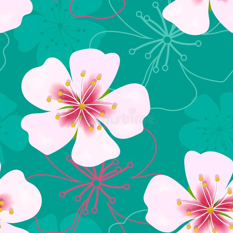 Behang eenvoudig leuk naadloos patroon Uitstekende Roze bloemen op groen stock illustratie