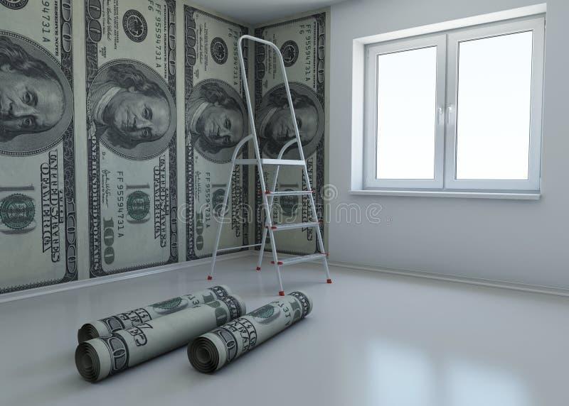 Behang gevormde dollar als symbool - het geld stock illustratie