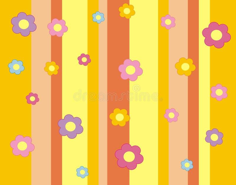 Behang met bloemen en stroken. stock illustratie