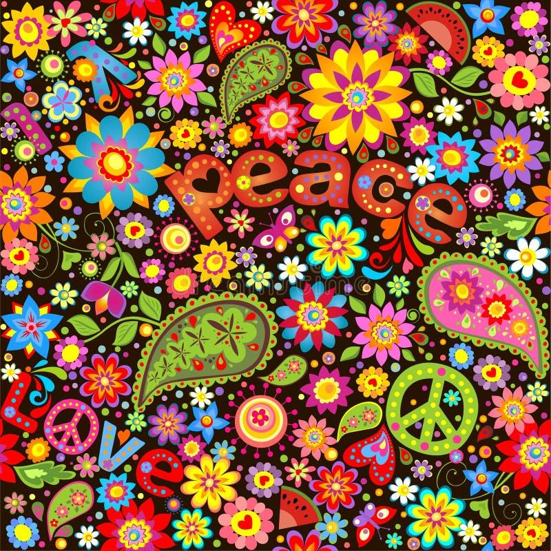 Behang met symbolische hippie stock illustratie