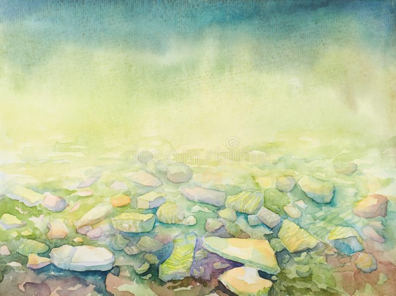 Behang voor tabletgadget met een hand getrokken waterverf overzeese diepte en strandkustkiezelstenen royalty-vrije illustratie