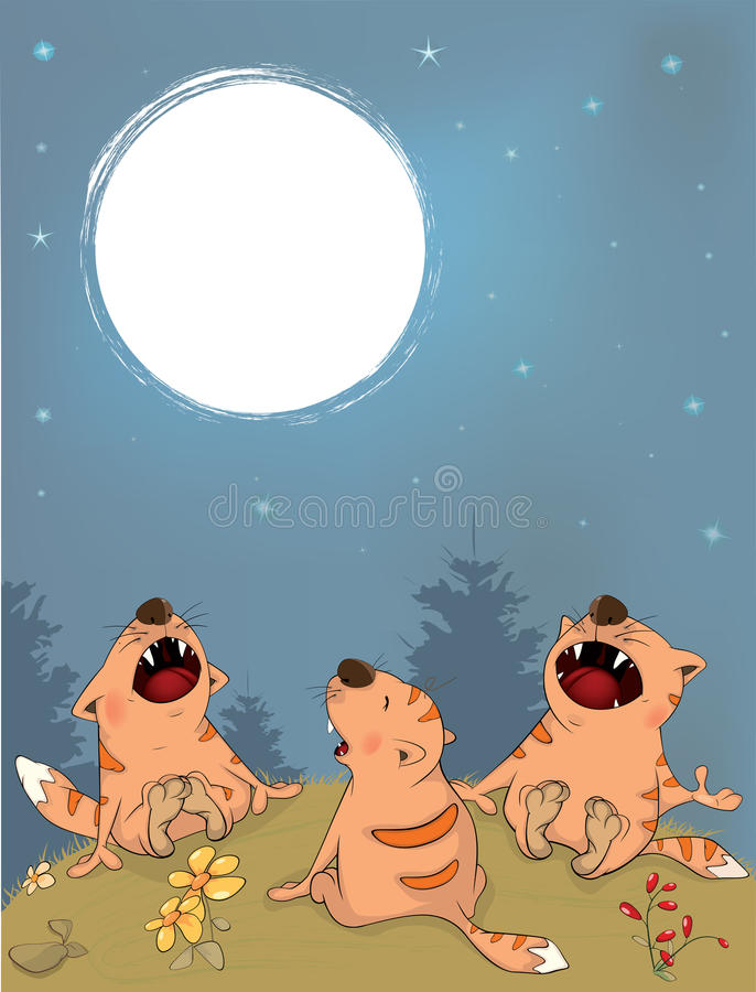 Behavior of Cats During a Full Moon stock illustration