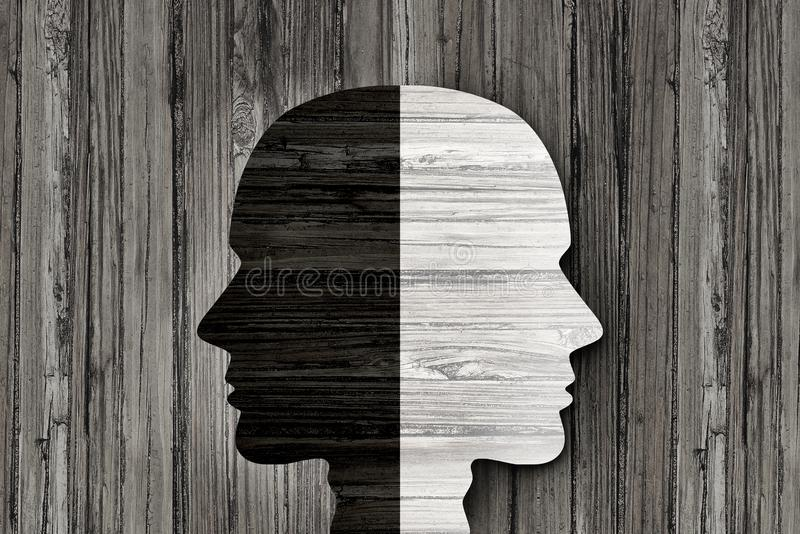 Behavior Mental Disorder. And schizophrenia or split personality illness and mind health psychiatric or psychological disease concept in a 3d illustration style stock illustration