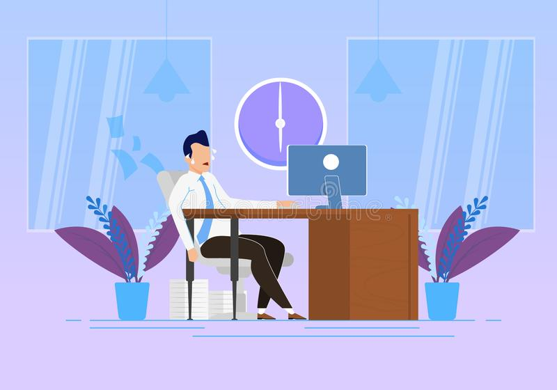 Behavior Modification at Work Vector Illustration. Emotional Stress and Physical Exertion at Work. Man Sweats Sitting at Table Office. Managing Stress royalty free illustration