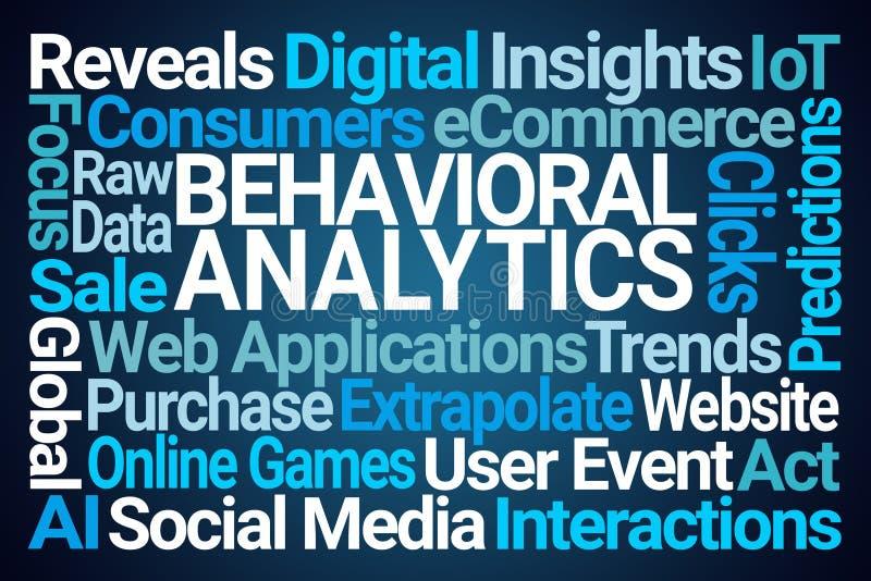 Behavioral Analytics Word Cloud. On Blue Background stock illustration