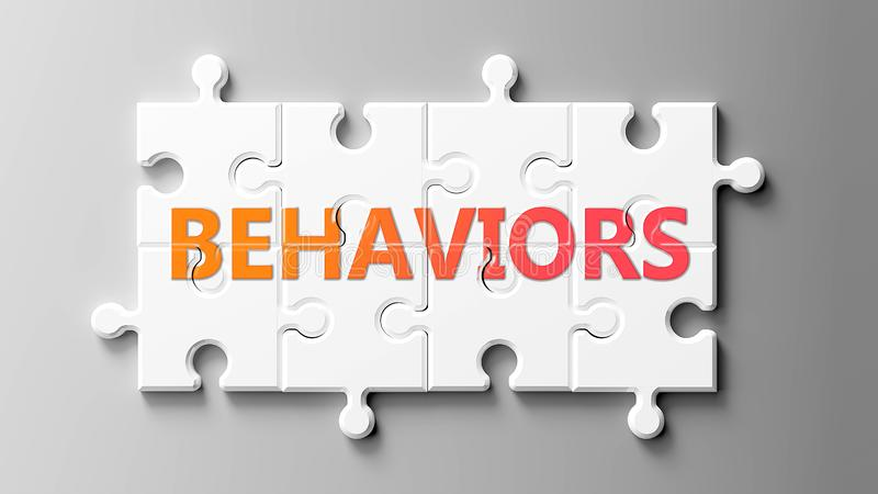 Behaviors sind komplex wie ein Puzzle - abgebildet als Wort Behaviors auf einem Puzzlestück zu zeigen, dass Verhalten schwierig s lizenzfreie abbildung