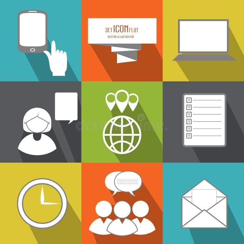 Beheer, bedrijfspersonen en bureaumensen Vector vlak pictogram stock illustratie