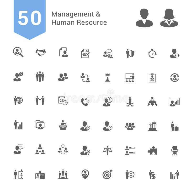 Beheer en de Menselijke Reeks van het Middelpictogram 50 stevige Vectorpictogrammen stock illustratie