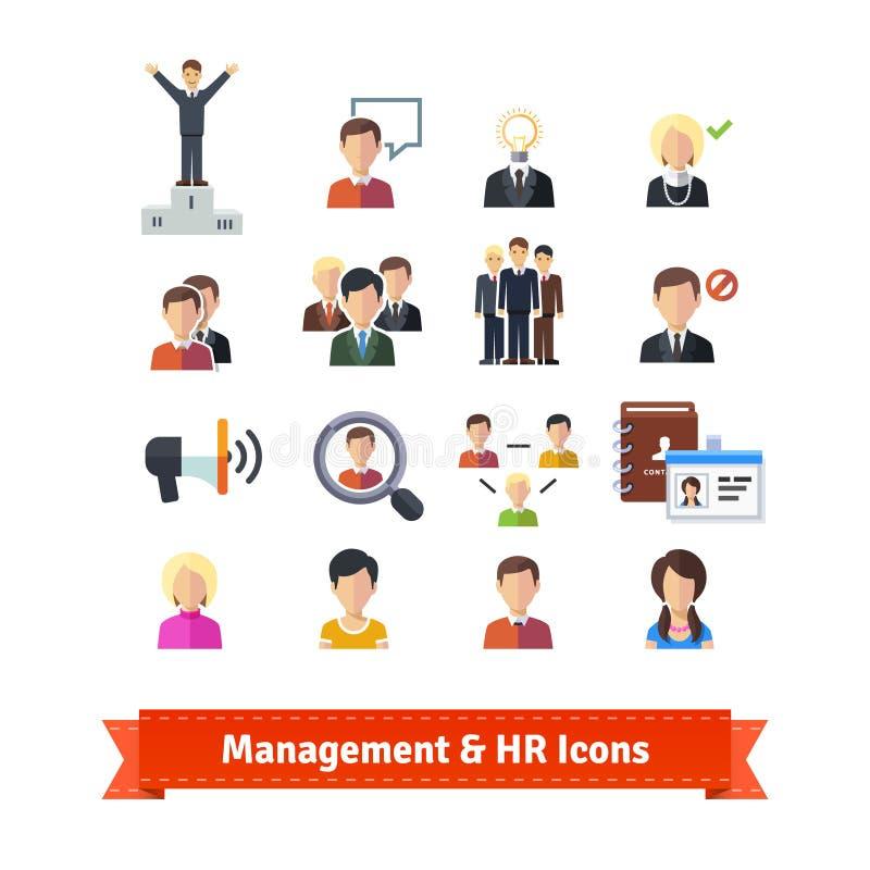 Beheer en geplaatste personeels vlakke pictogrammen vector illustratie