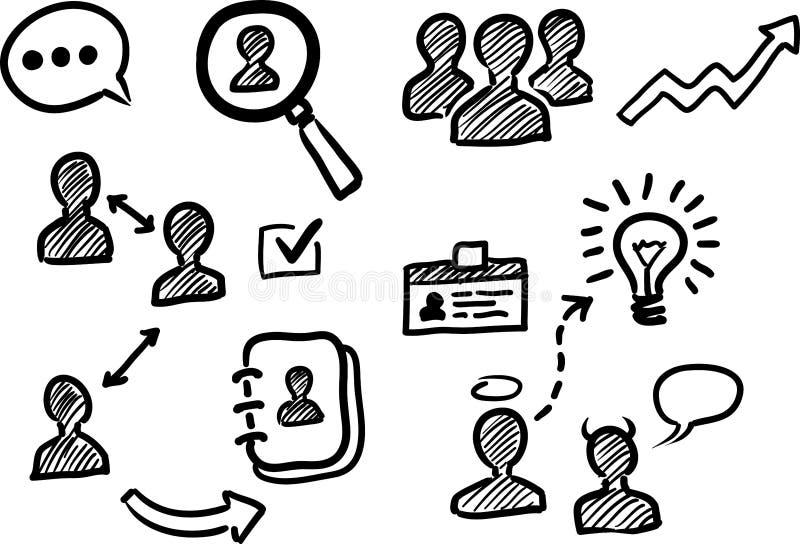 Beheer en van de personeelskrabbel pictogrammen vector illustratie
