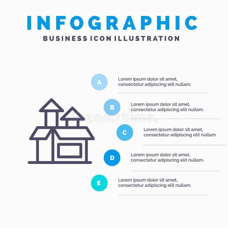 Beheer, Methode, Prestaties, Productregelpictogram met infographicsachtergrond van de 5 stappenpresentatie royalty-vrije illustratie