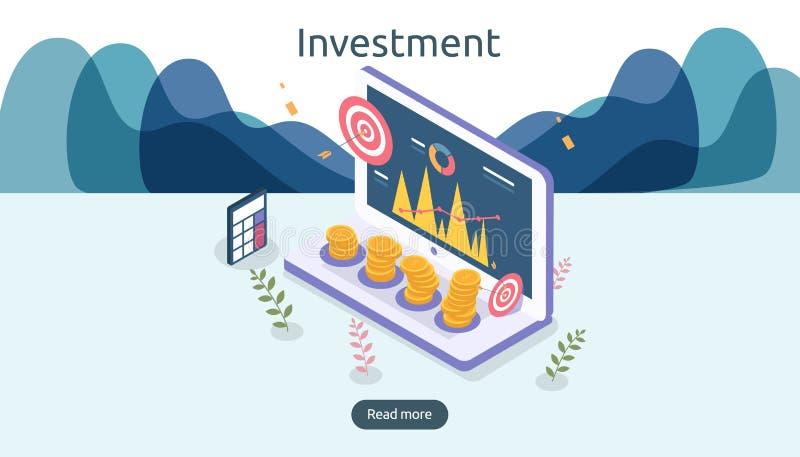beheer of terugkeer op investeringsconcept online zaken strategisch voor financiële analyse Isometrische ontwerp vectorillustrati stock illustratie