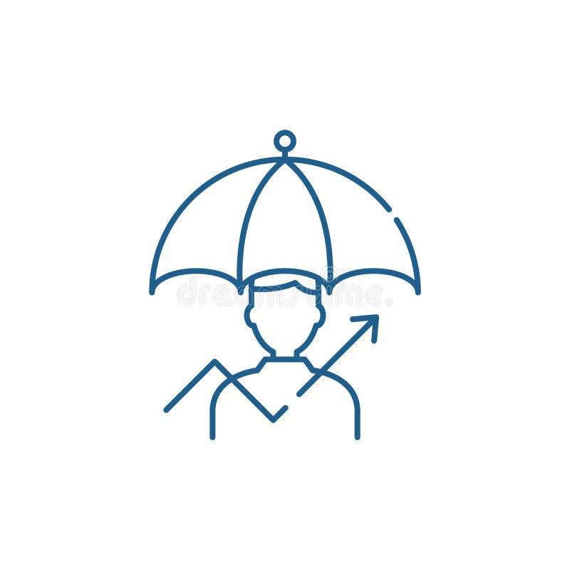 Beheer van het pictogramconcept van de risico'slijn Beheer van risico's vlak vectorsymbool, teken, overzichtsillustratie royalty-vrije illustratie