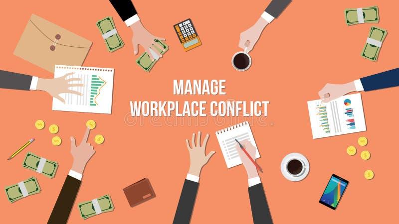Beheer werkplaatsconflict in een vergaderingsillustratie met geld, administratie en muntstukken bovenop lijst royalty-vrije illustratie