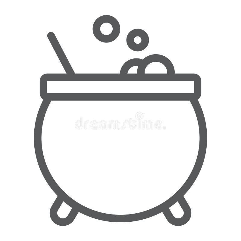 Behekst het pictogram van de ketellijn, magisch en pot, drankjeteken, vectorafbeeldingen, een lineair patroon op een witte achter vector illustratie
