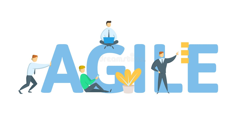 behendig Concept met sleutelwoorden, brieven en pictogrammen Vlakke vectorillustratie op witte achtergrond stock illustratie