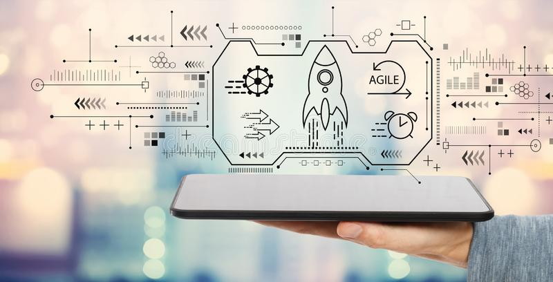Behendig concept met tabletcomputer stock illustratie