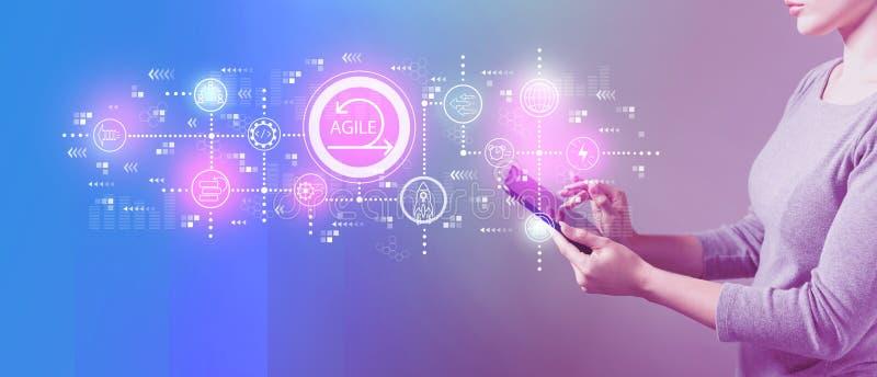 Behendig concept met vrouw die een tablet gebruiken stock illustratie